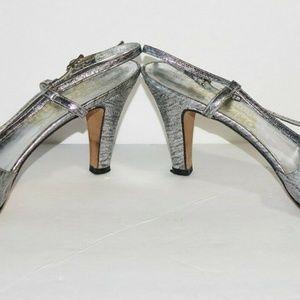 Vtg Salvatore Ferragamo Shoes High Heeled Metallic